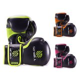 Sanabul Essential Gel Boxing Kickboxing Gloves (Black/Green, 14 oz)