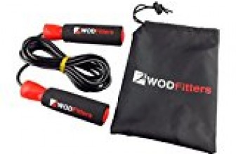 WODFitters Jump Rope for Cardio Fitness Training – Top Rated Exercise Tool for Weight Loss and Heart Health – Super Quick Ball Bearing – Fully Adjustable – FREE Training & Sizing eGuide & Carry Bag – Perfect for Boxing, MMA, Cross Training (Red and Black, Adjustable)