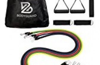 Bodyguard 11Pcs Resistance Bands Set, with Door Anchor, Handles, Ankle Straps and Carrying Bands,Elastic Pull Rope Perfect for Resistance Training, Physical Therapy, Home Gyms Workouts Yoga Pilates