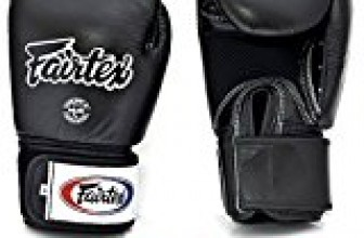 Fairtex Muay Thai – Boxing Gloves. BGV1 – Breathable. Color: Solid Black. Size: 12 14 16 oz. Training, Sparring Gloves for Boxing, Kick Boxing, MMA (Black, 16 oz)
