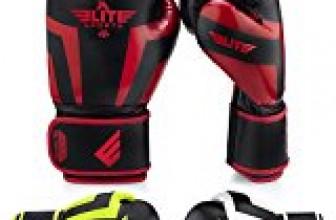 Elite Sports NEW ITEM Standard Kickboxing, Muay Thai Sparring Training Boxing Gloves (Red 14oz)