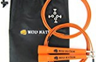 WOD Nation Speed Jump Rope – Blazing Fast Jumping Ropes – Endurance Workout for Boxing, MMA, Martial Arts or Just Staying Fit + FREE Skipping Training Included – Adjustable for Men, Women and Children