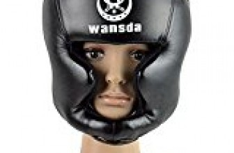 Boxing Headgear, Synthetic Leather MMA Headgear, UFC Fighting Head Guard Sparring Helmet by Sanjoin, Black