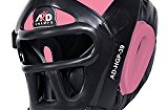 ARD Leather Art MMA Boxing Protector head guard UFC Wrestling helmet head gear (Pink, Small)